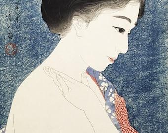 Ukiyo-e reprint,Preboarded,a lady,Torii Kotondo,woodblock,decor,Japanese,tk3