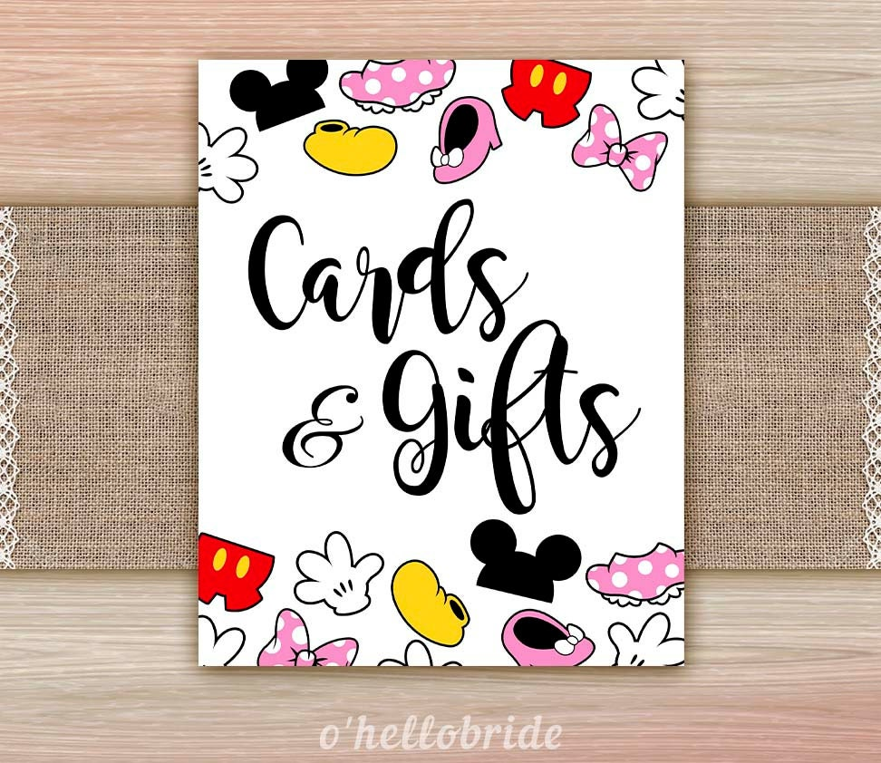 Disney Wedding Gift: Cards And Gifts Sign For Disney Theme Bridal Shower Shower