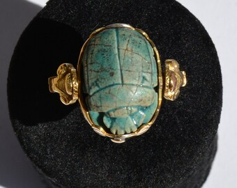 Ancient Egyptian Ring in 18 k gold and rotating Scarab Egyptian hieroglyphics ring beetle gold Egyptian 18 k