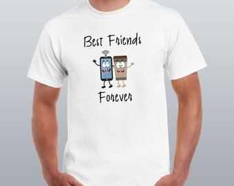Best Friends Forever WiFi and Coffee men T-shirt-Funny-Coffee-WiFi-Gift for him-party-Tees & Tops-Casual