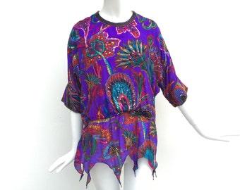 Vtg 70s silk gauze and sequin hanky hem stevie nicks witchy floral paisley dress top