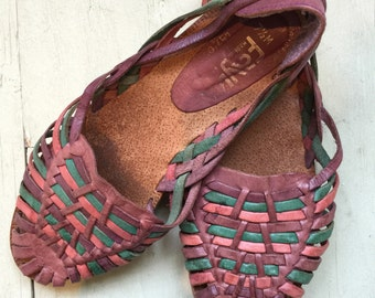 Vtg 70s 80s woven leather huaraches huarache shoes 7.5