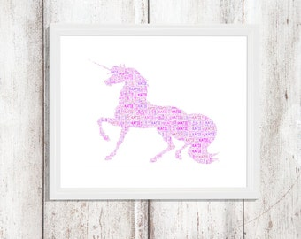 Magical Pink Unicorn - Personalised Framed Print