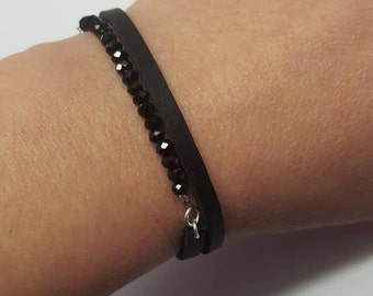 Little Black Bracelet, black leather bracelet, wrap bracelet, modern bracelet