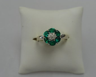 14kt White Gold, Diamond and Emerald Ring