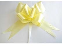 10pcs x 30mm LIGHT Yellow Pull Bows Ribbons Wedding Floristry Car Gift Decorations