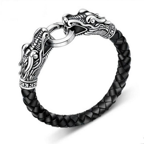Leather dragon bracelet men 39 s viking 39 s serpent head by meselondon - Bracelet viking homme ...