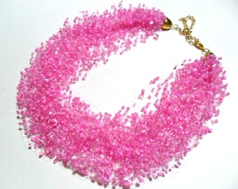 Sweet pink necklace, airy crochet everyday necklace, multistrand statement necklace, gift for her