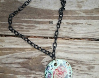 Floral handmade ceramic pendant necklace