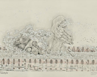Swimmer/Olympics/Freestyle/Water/Swim/Pool/Poster/Drawing/Photo Realism/Racing/Sport/Competition/Pencil/Wall Art/Detail/Illustration