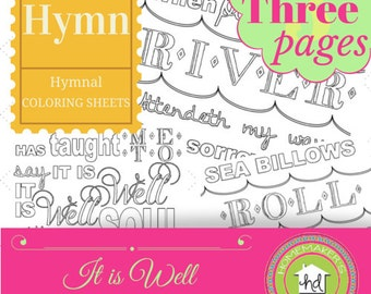 It is Well Hymn Coloring Sheet