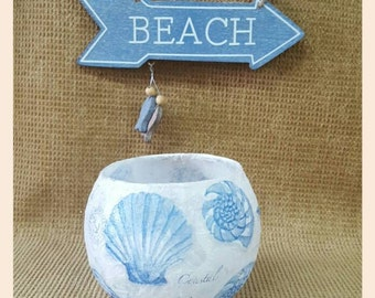Shell candle holder- bathroom/beach theme/candles/pebbles