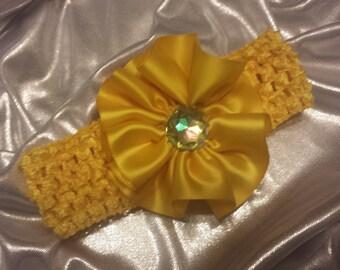 Girls Sun Yellow Headband with Rhinestone