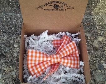 Boys Orange Plaid Bowtie