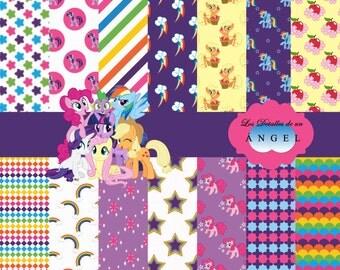 Digital paper for my little pony party Kit / Kit Digital Paper for My Little Pony party