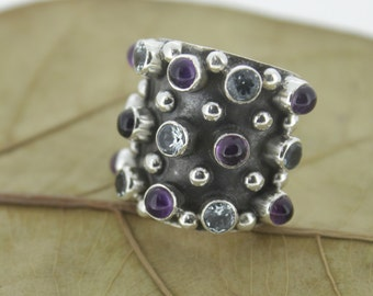 92.5 Sterling Silver Multi Stone Ring - Silver Amethyst Blue Topaz Ring