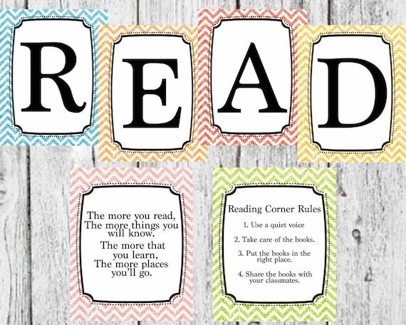 Reading Corner Set with Glitter background- Multi color classroom decor-  Teacher classroom decoration Reading Corner