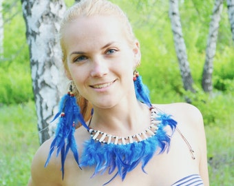 Feather accessories / Feathers earrings / Blue feathers earrings / Feather necklace / Blue feathers necklace / Indian accessories