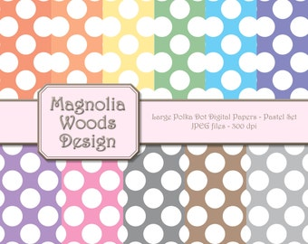 Polka Dot Digital Paper Pack, Pastel Large Polka Dot Digital Paper Pack, Pastel Rainbow Digital Paper Pack, Small Commercial Use Paper Pack