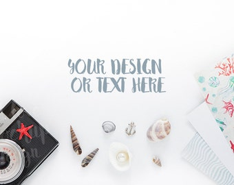 Camera, Seashells, Postcards on a White Background / Stock Photography / Product Mockup / High Res File