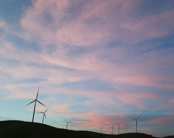 Landscape Photography, Nature Wall Decor, Windmills, Sunset Wall Art - Vasco Windmills