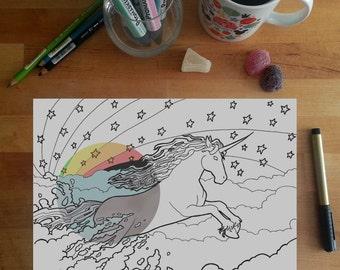 Rainbow Unicorn Colouring Page, dashing unicorn, rainbow unicorn illustration, fantasy colouring page, adult colouring page