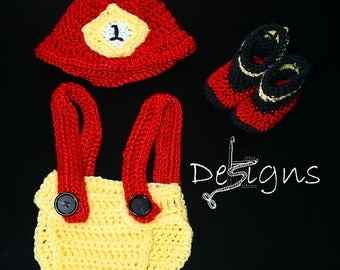 Newborn Crochet Fire Fighter/Baby Hat/Photo Prop Fireman/Baby Boy/Baby Girl