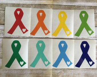 BOGO Awareness Ribbon | Cancer Decal | Vinyl Ribbon