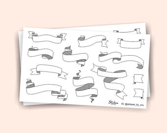 Blank Banner Stickers / Planner Stickers / Weekend Stickers / Ribbon Stickers / Doodle Page Flags | KA22