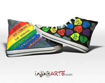 Colorful hearts shoes / Gay Pride shoes