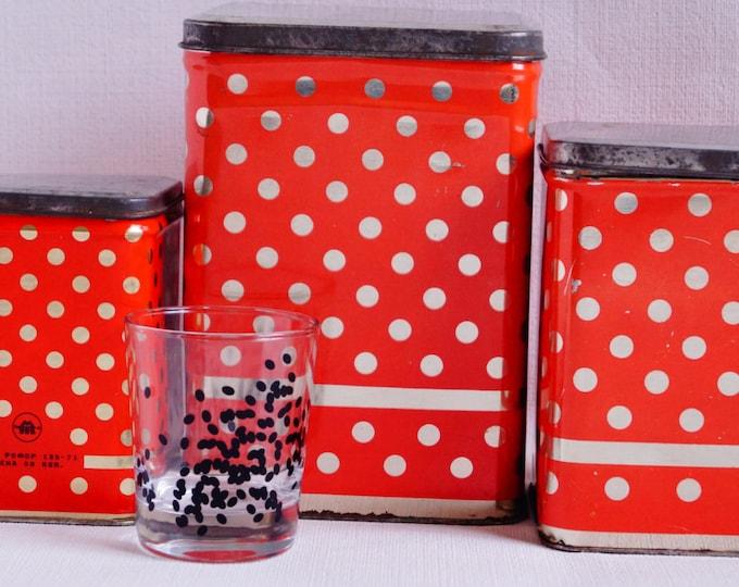 Vintage kitchen tins - Set of 3 tins - Soviet kinchen containers - Red polka dot - Soviet Retro - Christmas gift