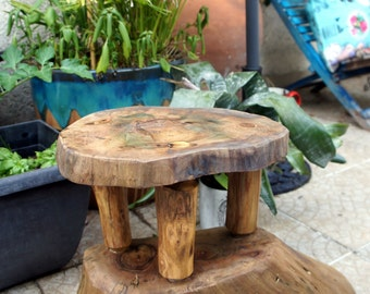Wooden stool in walnut wood- small side table - small stand - kids stool