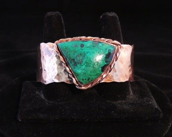 Hammered Copper Cuff with Chrysocolla/Malachite
