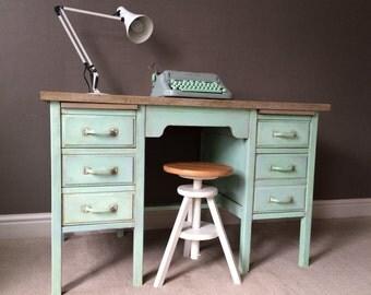 SOLD Desk Industrial Wooden Vintage Office desks, Hand Painted Vintage Chalk Paint