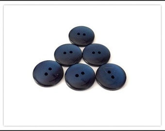 6 Frosty Dark Blue Vintage Buttons
