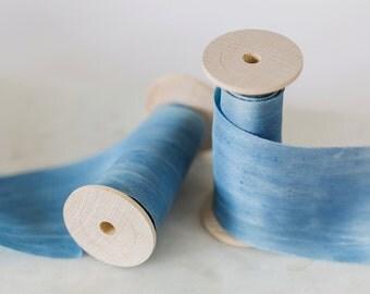 Silk ribbon - Capri Blue 5cm width