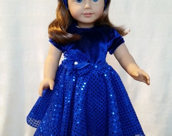 Blue Velvet 18 inch doll outfit or American Girl doll clothes