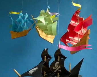 Colorful Sailboat Mobile,Wooden, Baby Mobile,Wooden Sailing Ship, Pirate Ship Mobile,Miniature Ship,Boat,Gift, Mobile,Wood Ship