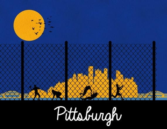 Pittsburgh Skyline Poster Pittsburgh Print Wall Art Wall Decor Dorm Decor Pittsburgh Steelers Pirates Penguins Home