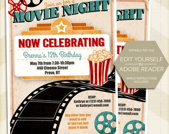 MOVIE NIGHT Party Invitation, Vintage Movie Birthday Invite, Late night  5x7 - digital printable editable PDF Edit yourself in Adobe Reader