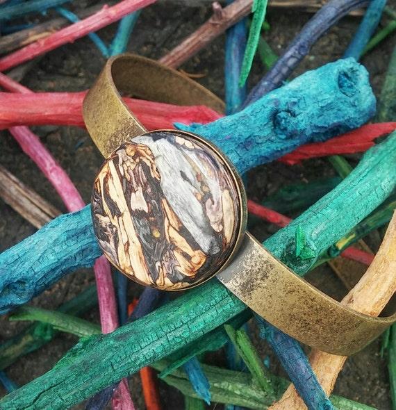 Antique Brass Tumblestone Cuff Bracelet