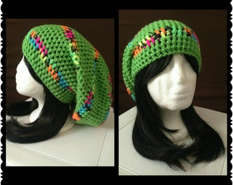 Spring Green Slouch with Multi Colored Stripes