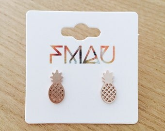Rose gold silver or gold pineapple stainless steel hypoallergenic earrings small perfect gift idea