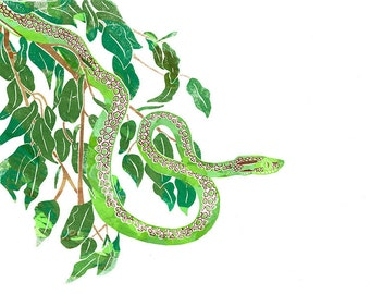 Hand Printed Snake Screen Print A4
