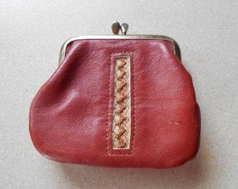 Vintage Change Purse Rust Red