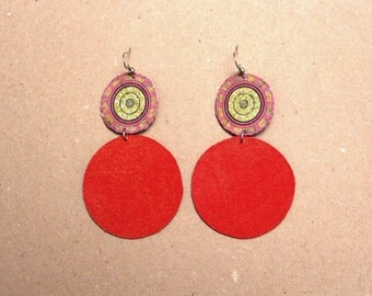 "Paper earrings ""Corentyne"" - Red and gold earings"
