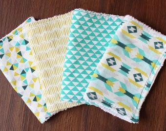 The Geo Bundle, burp cloths, gender nuetral, modern burp cloths, chenille, teal, turquoise, aqua, yellow, geometric, triangle, aztec,hexagon