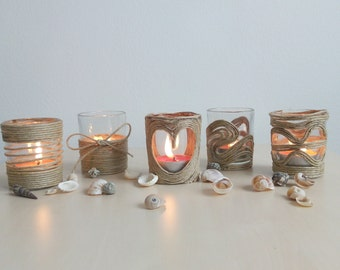 Candle holder, set of 5 candle holders, glass