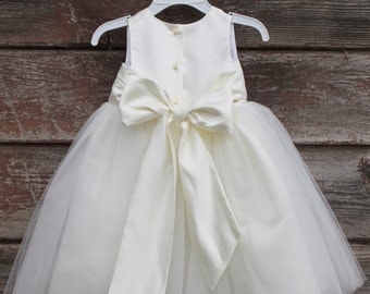 Ivory Flower Girl dress bow sash pageant petals wedding bridal children bridesmaid toddler elegant
