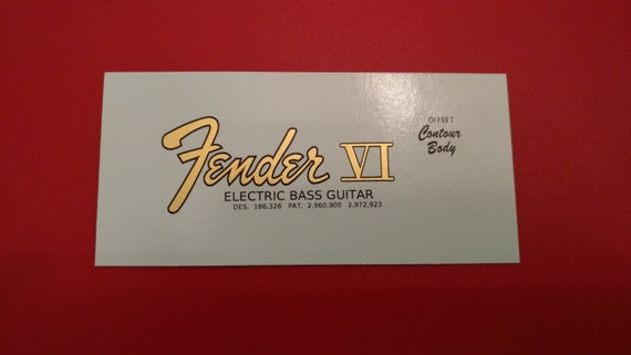 Fender Bass VI Decal, Gold -  Custom Waterslide Customize your order, With Pat. Numbers or without.